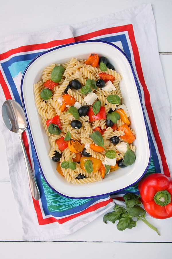Love Audrey UK Lifesyle Blog Pasta with Roasted Peppers, Feta and Olives Recipe