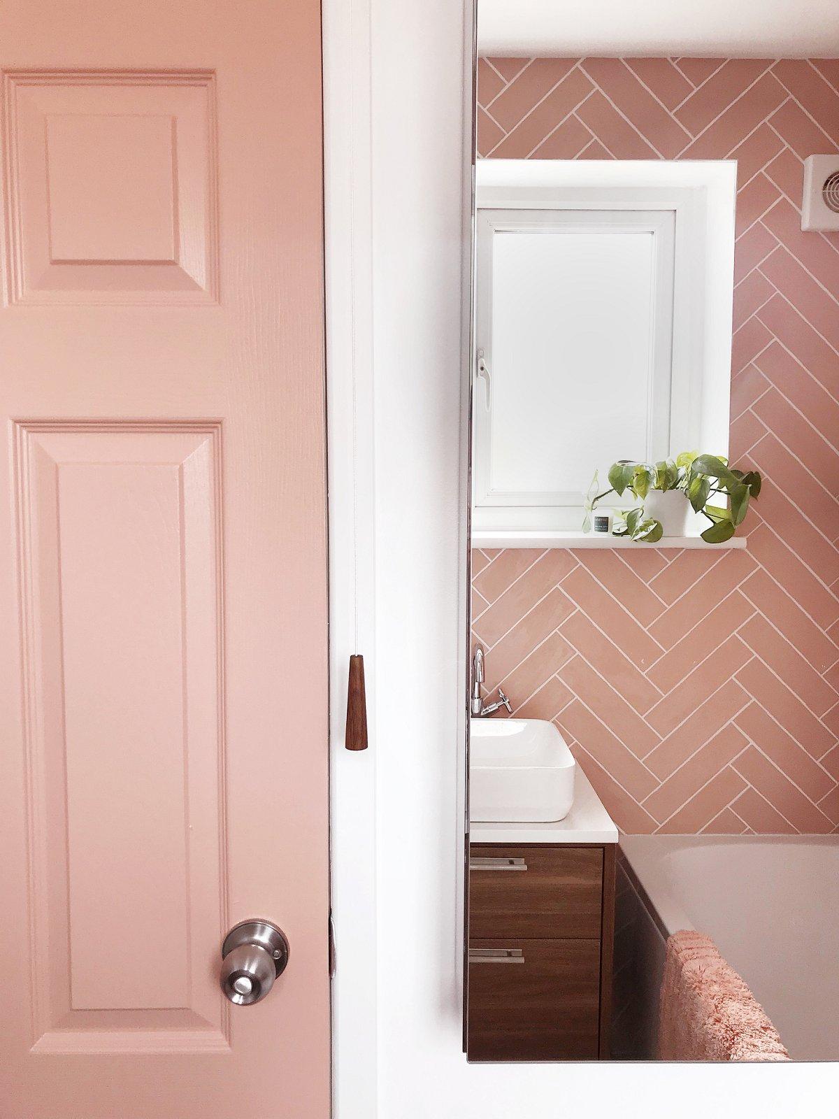 Love Audrey pink bathroom door and mirrored cabinet